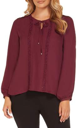 Dex Pintuck Lace Long-Sleeve Top