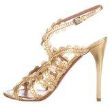 Alaia Metallic Perforated Sandals