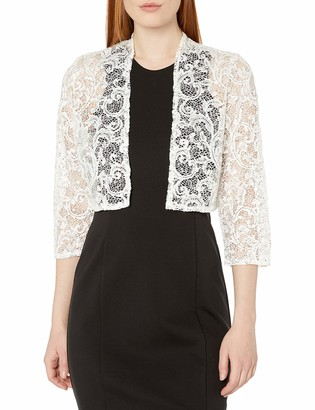 R & M Richards R&M Richards Women's 1 Piece Missy Size Laced Shrug with Glitter White Large