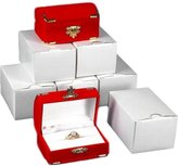 FindingKing 6 Double Ring Gift Boxes Red Flocked Jewelry Display