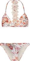 Zimmermann Floral-print triangle bikini