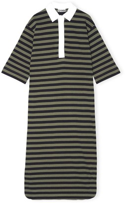 Ganni Striped Cotton Jersey Dress in Kalamata