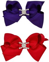 Wee Ones Grosgrain Bows Bundle - Purple And Red-Small