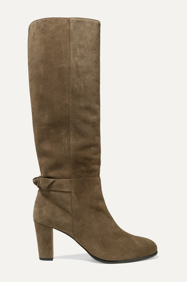 Alexandre Birman Rachel Bow-embellished Suede Knee Boots - Army green