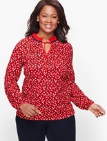 Talbots Pleated Tie Neck Top - Floral