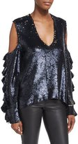 IRO Waleast V-Neck Cold-Shoulders Ruffled Sleeves Sequin Top