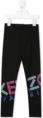 Kenzo Kids Iridescent logo print leggings
