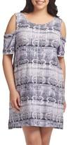 Tart Plus Size Women's Tabitha Print Cold Shoulder Shift Dress