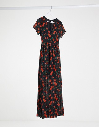 Glamorous maxi dress with plunge front in floral