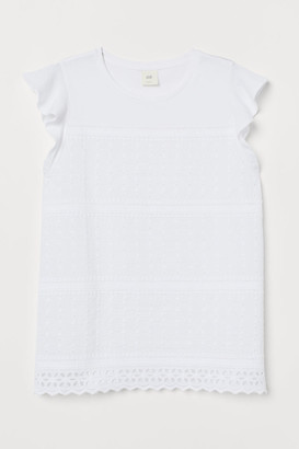 H&M Top with Eyelet Embroidery - White