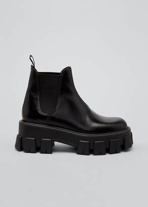 Prada Leather Lugged-Sole Chelsea Booties