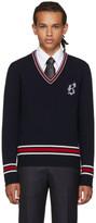 Brioni Navy Logo V-Neck Sweater