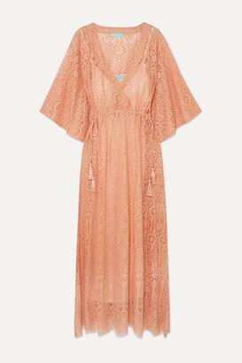 Melissa Odabash Mel Cotton-blend Lace Kaftan - Peach