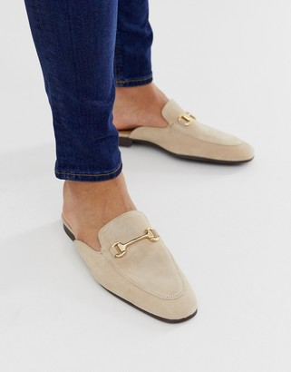 Asos Design DESIGN backless mule loafer in stone suede with snaffle