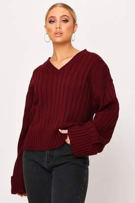 I SAW IT FIRST Burgundy V-Neck Turn Up Sleeve Knitted Jumper