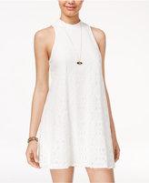 Speechless Juniors' Lace Mock-Neck Trapeze Dress