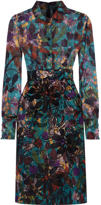 Anna Sui Printed Fil Coupe-paneled Cotton-blend Jacquard Dress