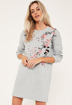 Missguided Grey Embroidered Sweater Dress