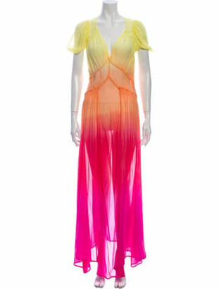 ATTICO Silk Long Dress Yellow