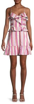 Parker Ruffled Striped Mini Dress