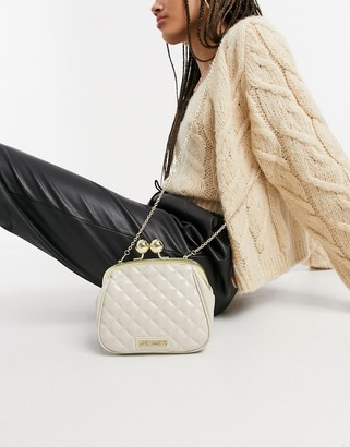 Love Moschino shiny quilted bag with clasp in ivory