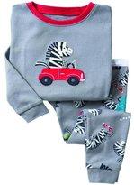 SS&CC Boys' Zebra Printing Long Sleeve 2 Piece 100% Cotton Pajama set(2-7 Years)
