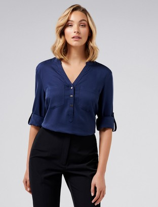 Ever New Mika Popover Roll Sleeve Shirt