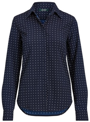 Ralph Lauren Polka-Dot Crepe Shirt