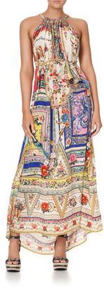 Camilla Long Floral Silk Drawstring Dress