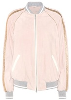 Brunello Cucinelli Suede and metallic leather bomber jacket