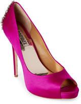 Badgley Mischka Carmine Pink Kiara Embellished Peep Toe Pumps