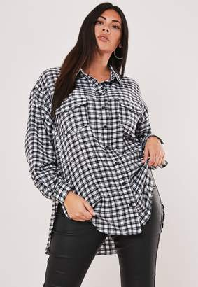 Missguided Plus Size White Oversized Micro Check Shirt