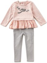 Jessica Simpson Little Girls 2T-6X Star Ruffle-Hem Top & Jeans Set