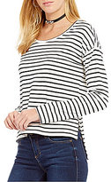 Copper Key Striped Hi-Low Long-Sleeve Tee