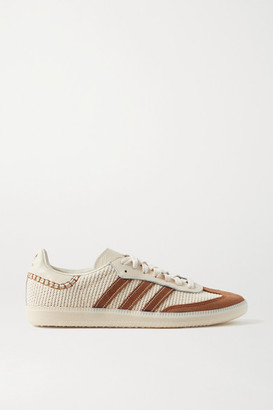 adidas + Wales Bonner Samba Suede, Leather And Mesh Sneakers - Ecru