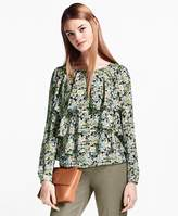 Brooks Brothers Floral-Print Ruffled Silk Blouse