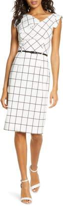 Black Halo Jackie O Grid Print Sheath Dress