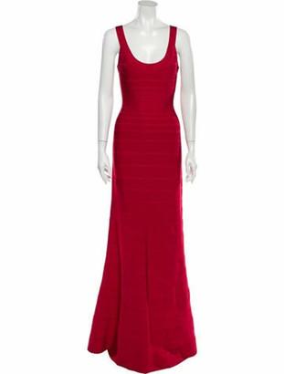 Herve Leger Ellen Long Dress Red
