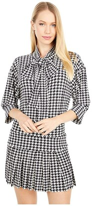 KAMALIKULTURE by Norma Kamali Puff Sleeve Neck Shirt w/ Scarf (Large Check) Women's Clothing