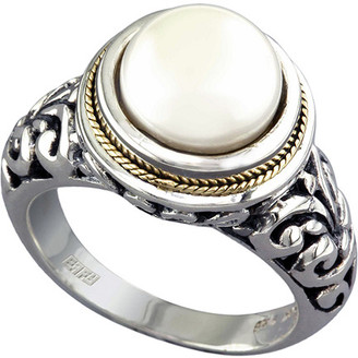 Effy Fine Jewelry Silver & 18K 10Mm Pearl Ring