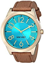 Nine West Women's NW/1660TQCM Turquoise Dial Tan Leather Strap Watch