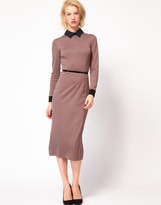 Asos Pencil Dress With Collar And 3/4 Sleeve