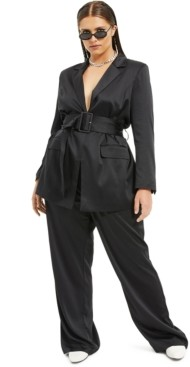 Danielle Bernstein Plus Size Belted Satin Blazer, Created for Macy's