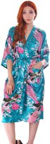 Simplicity Luxurious Kimono Robe in Silky Peacock Floral Print with Pockets