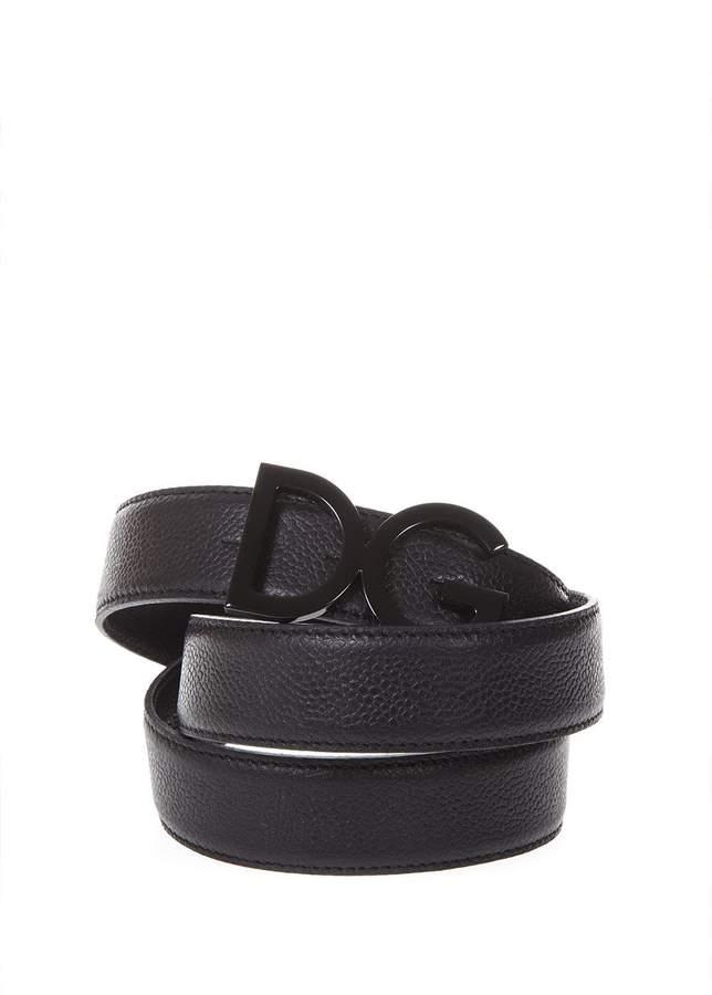 Dolce & Gabbana Logoed Black Leather Belt