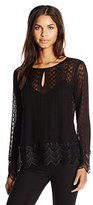 Ella Moss Women's Pixie Embroidered Detail Long Sleeve Blouse