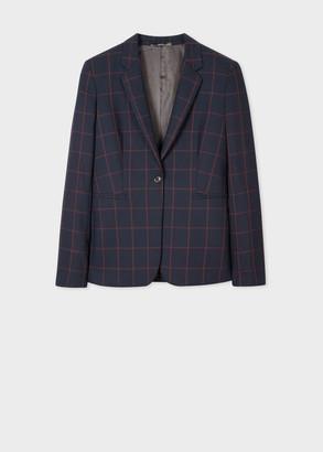 Paul Smith Women's Slim-Fit Dark Navy Windowpane Check Loro Piana Wool Blazer