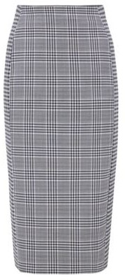 HUGO BOSS Mixed Check Pencil Skirt In A Stretch Cotton Blend - Patterned