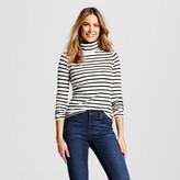 Women's Striped Turtleneck Top Cream/Black Stripe - Merona