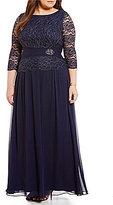 Jessica Howard Plus 3/4 Sleeve Ruched Waist Peplum Beaded Dress